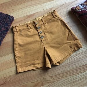 Old Navy mustard high waisted shorts with buttons